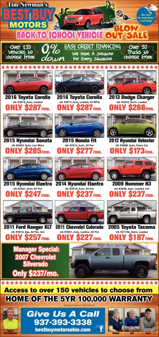 Back to school vehicle blowout sale