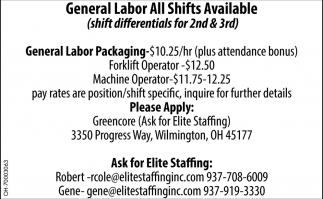 General Labor All Shifts Available