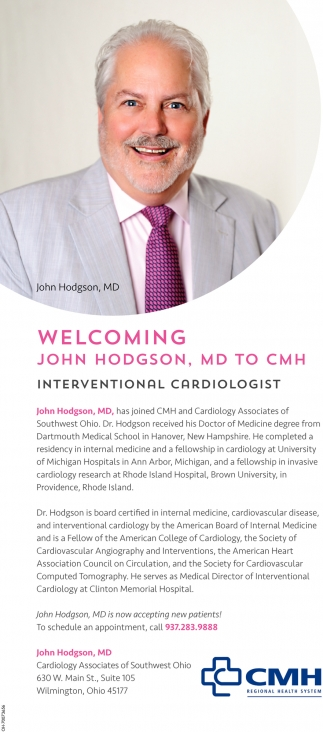 John Hodgson, MD TO CMH Interventional Cardiologist