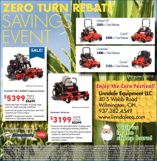 Zero Turn Rebate Savings Event