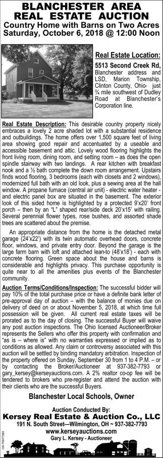 Blanchester Area Real Estate Auction