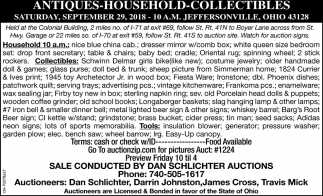Antique, Household & Collectible Auction