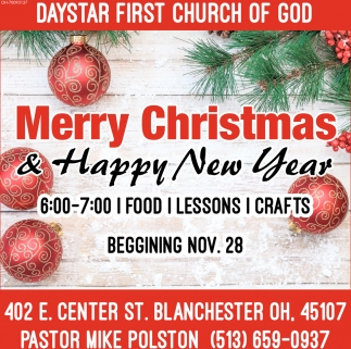 merry christmas happy new year daystar first chuch of god blanchester oh