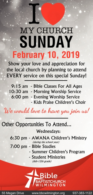 I Love My Church Sunday - February, 10