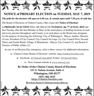Notice of Primary Election