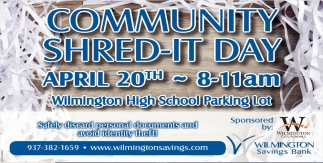 Community Shred-It Day - April 20th, Wilmington Savings Bank