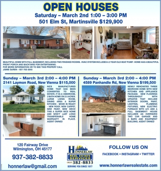 Open Houses March 2nd