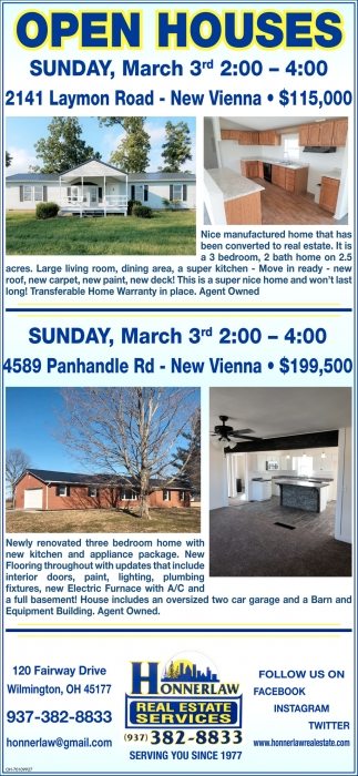 Open Houses March 3rd