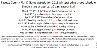 2019 Winter/Spring Shoot Schedule