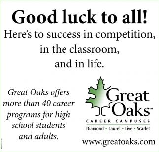 Good luck to all! Here's to success in competition in the classroom, and in life