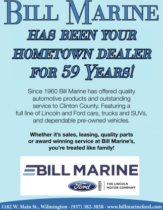 Has been your hometown dealer for 59 years!