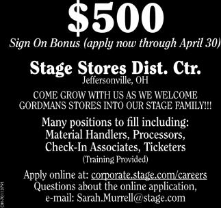 $500 Sign On Bonus - Apply now through April 30