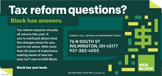 Tax reforms questions? Block has answers