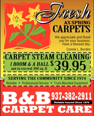 Carpet Steam Cleaning 1 Room & A Hall $39.95