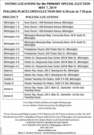 Voting Locations for the Primary Special Election