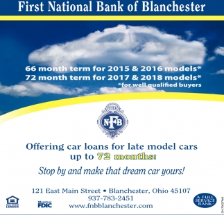 Offering car loans for late model cars up to 72 months