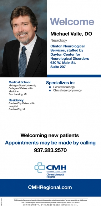 Welcome Michael Valle, DO - Neurology