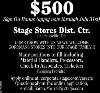 $500 Sign On Bonus - Apply now through July 31st