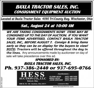 Consignment Equipment Auction