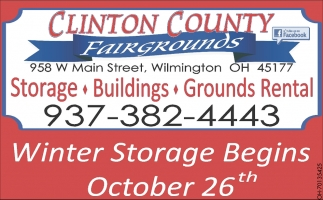 Winter Storage Begins October 26th