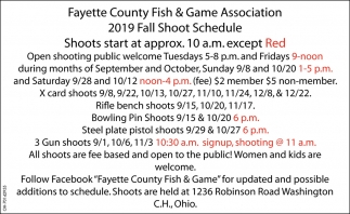 2019 Fall Shoot Schedule