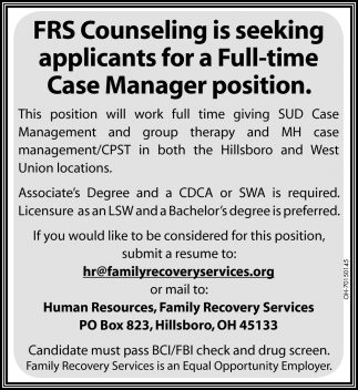 Case Manager Position