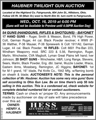 Haubner Twilight Gun Auction