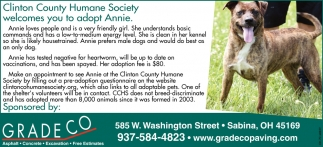Clinton County Humane Society welcomes you to adopt Annie