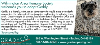 Clinton County Humane Society welcomes you to adopt Geddy