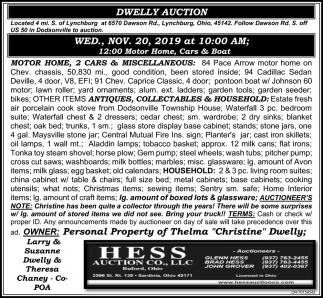 Dwelly Auction - Nov. 20