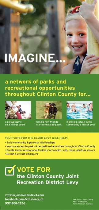 Imagine... a network of parks and recreational opportunities throughout Clinton County