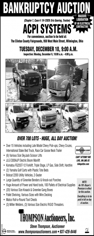Bankruptcy Auction - December 10