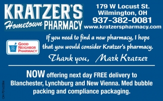 Now offering next day FREE delivery to Blanchester, Lynchburg and New Viena
