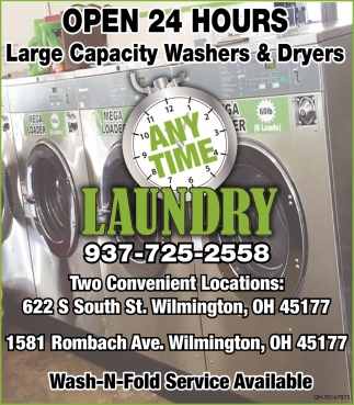 Open 24 Hours - Large Capacity Washers & Dryers