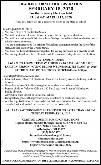 Deadline For Voter Registration - February 18
