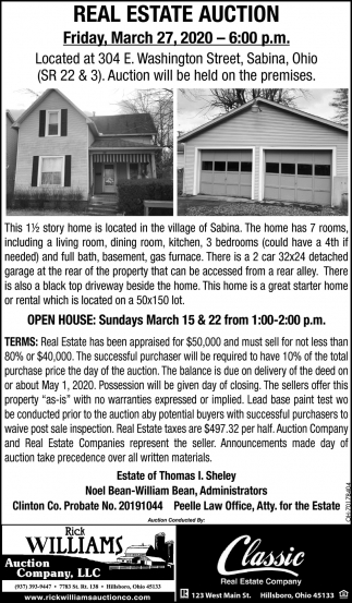 Real Estate Auction - March 27
