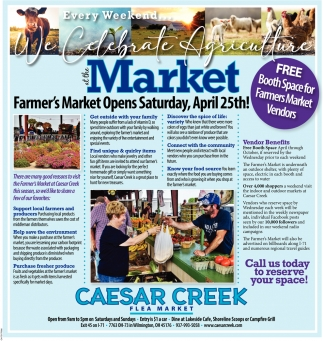 Outdoor Farmer's Markett Opens Saturday, April 25th