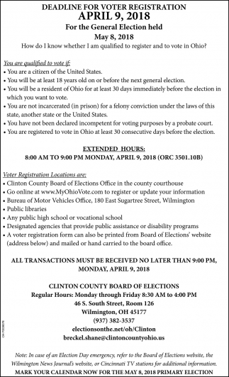 Deadline for voter registration