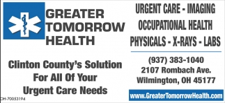 Urgent Care, Imaging, Occupational Health, Physucals, X-Rays, Labs