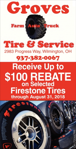 $100 Rebate on Selected Firestone Tires